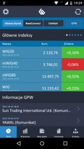 Aplikacja mobilna GPW - screen