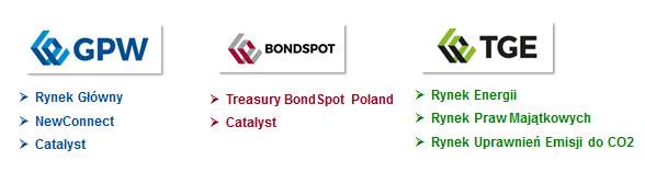 Obrót instrumentami finansowymi w Polsce organizują trzy spółki należące do tej samej grupy kapitałowej: Giełda Papierów Wartościowych, BondSpot, Towarowa Giełda Energii. Giełda papierów Wartościowych prowadzi: Rynek Główny, NewConnect i Catalyst. Bondspot prowadzi rynki: Treasury BondSpot Poland i Catalyst. Towarowa Giełda Energii prowadzi: rynki: Rynek Energii, Rynek Praw Majatkowych i Rynek Uprawnień Emisji do CO2.