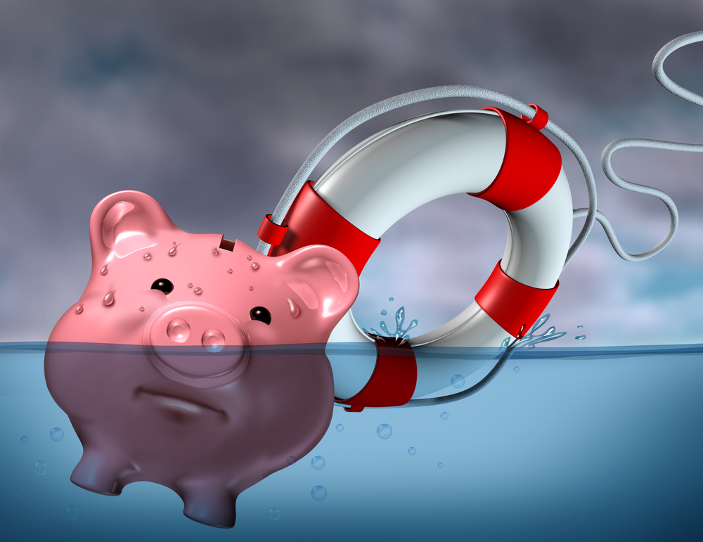 Financial Aid and rescue from debt problems and keeping your investments above water represented by a drowning pink piggy bank sinking in blue water with a life